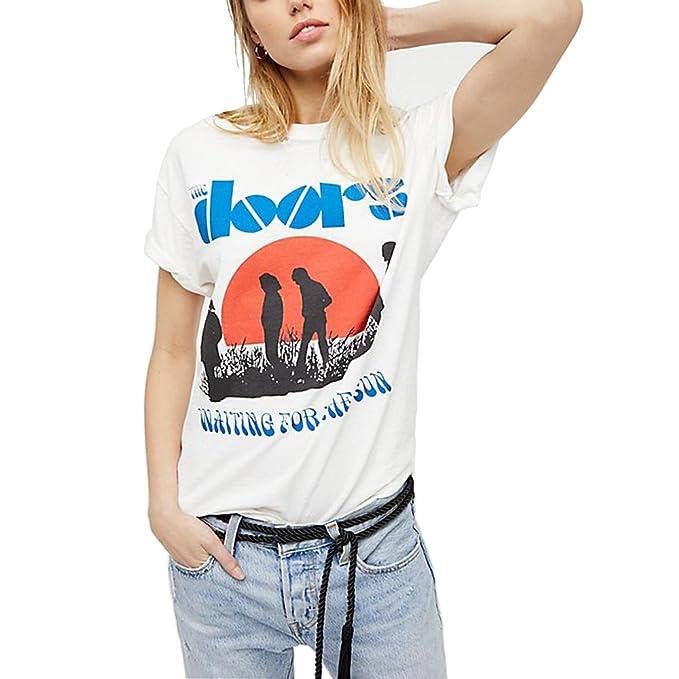 Camisetas de verano Mujer Manga Corta Moda Tumblr Camisas Tallas Grandes (Blanco, L): Amazon.es: Ropa y accesorios