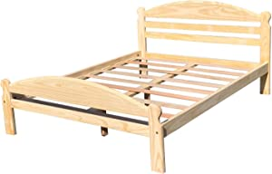 Arizona Full-XL Bed Solid Pine Wooden Bed Unfinished with Hardwood Slats Support Suitable for Adults Bedroom Wooden Bed Frame Easy to Assemble