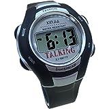 Reloj parlante digital, negro con alarma, anuncia la hora en francés para ciegos y