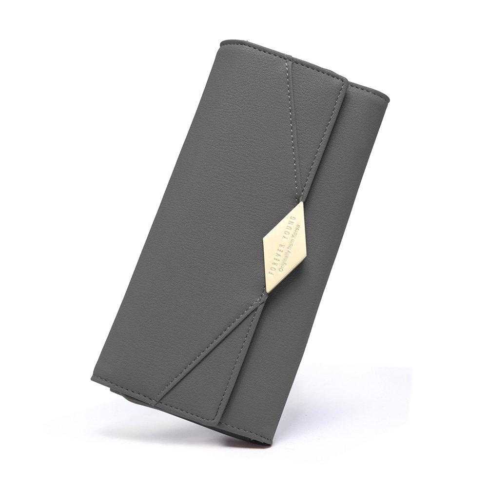 Wallet for Women Soft PU Leather Designer Trifold Multi Card Holder Organizer Lady Clutch Purse Gray