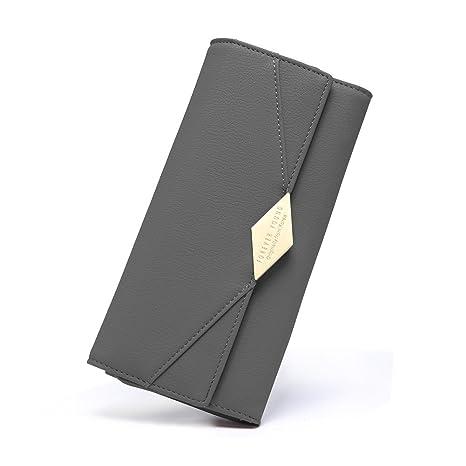 bf5cb236c5269 Damen Geldbörse PU Leder Kreditkarte Halter Lang Handy Geldbeutel Frauen  mit Druckknopf grau