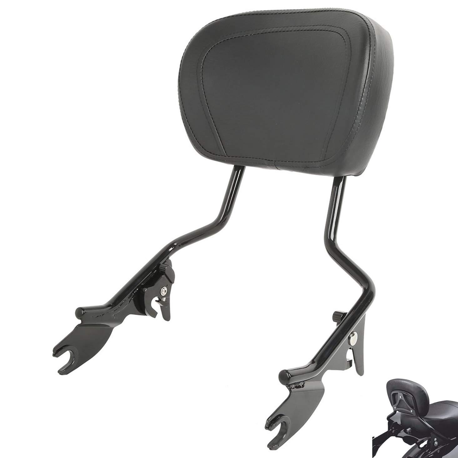 AUFER Detachable Backrest Sissy Bar Upright Passenger Backrest w/Pad for Touring Road King Street Glide FLHR FLHX FLHT FLTR 2009-2018 by AUFER