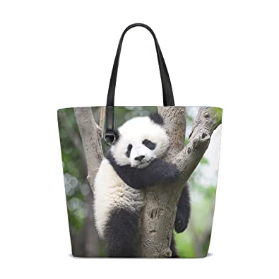 e04c535f6841 Image Unavailable. Image not available for. Color  Animal Panda Adorable  Fluffy Small Blackandwhite Pet Cute Tote Bag Purse Handbag For Women Girls