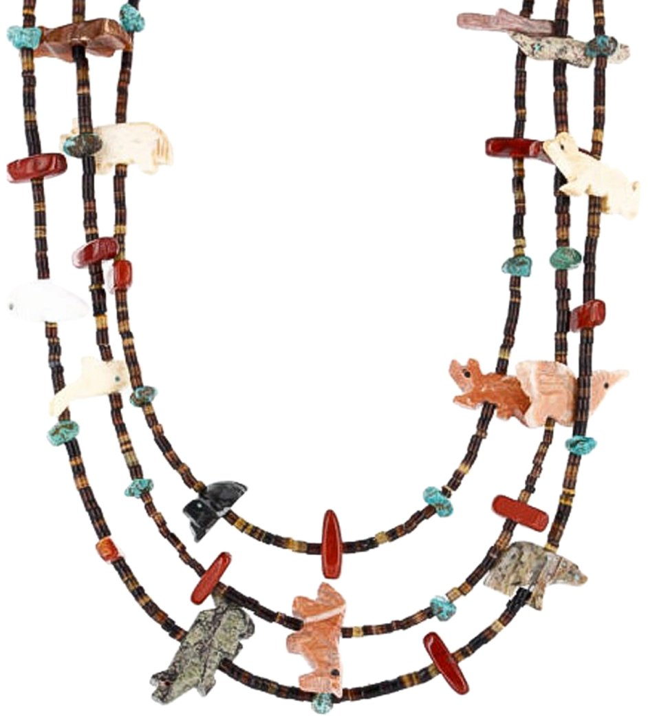 Native-Bay Fetish Handmade Retail Tag Authentic 3 Strand Little Navajo Silver Turquoise Native American Necklace