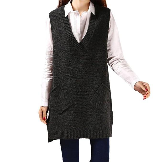 pretty nice 64d33 331c3 CHIC-Damen Strick Pullunder lang Weste V-Ausschnitt Ärmellos Sweater  Pullover Casual Sweatshirt