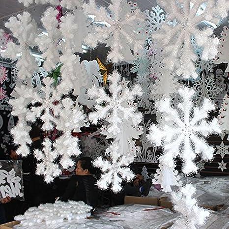 Para colgar de Navidad pared jardín espuma 3d copo de nieve adornos decoración 10pcs blanco: Amazon.es: Hogar