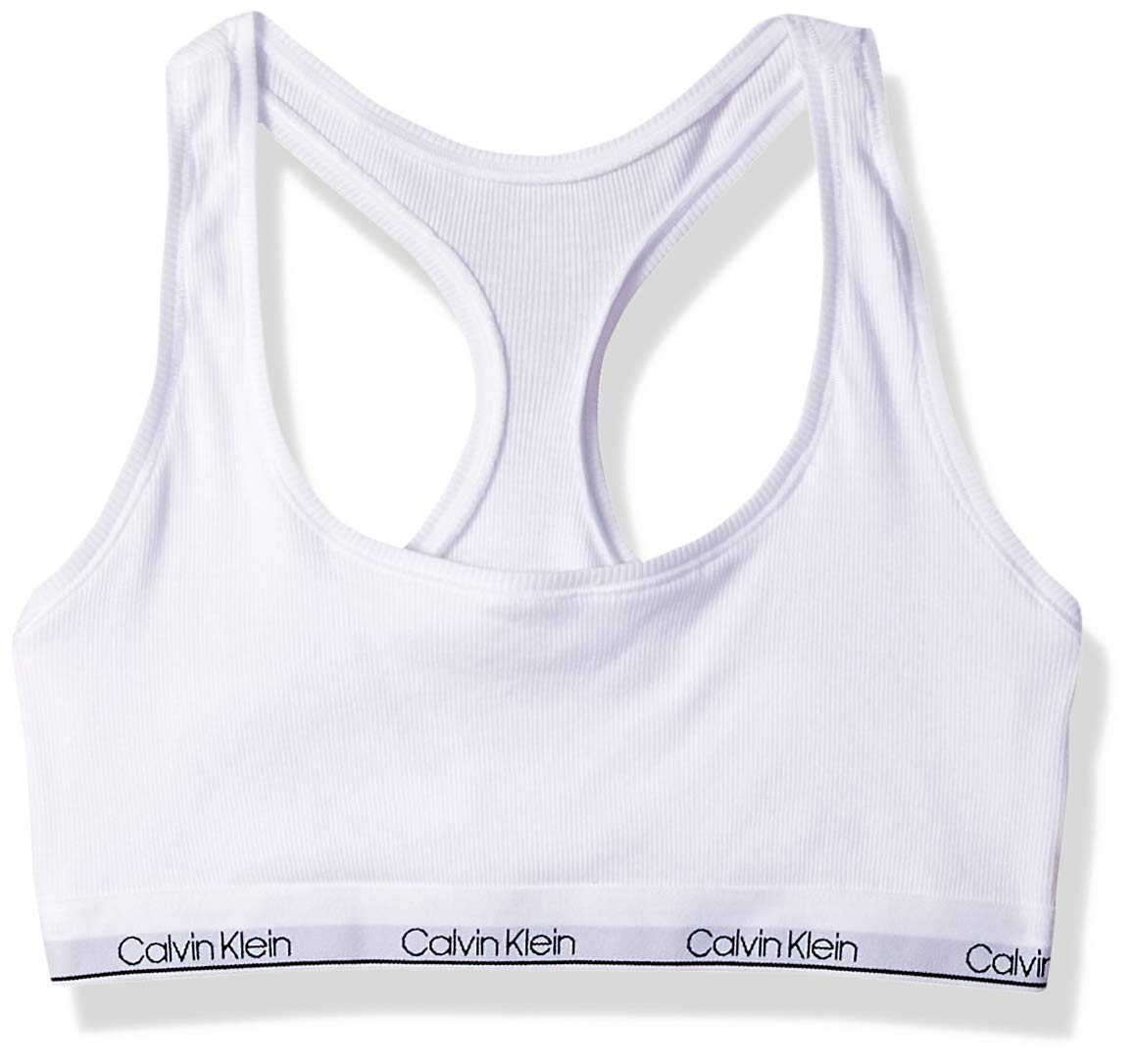 Calvin Klein Big Girls' Modern Cotton Bralette, Rib-Classic White by Calvin Klein
