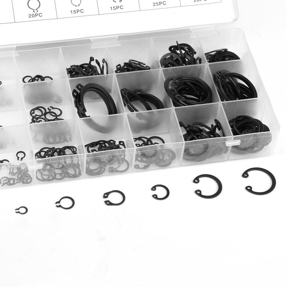 etc. Engranajes 300Pcs Asixx Anillos de retenci/ón externos 300Pcs 2-32mm E-Clip Snap Circlip Kit Juego de Surtido de Anillos de retenci/ón externos para retenci/ón de rodamientos poleas