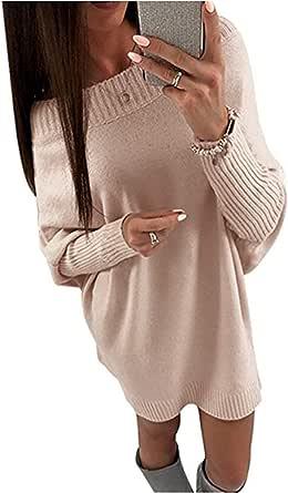 Minetom Mujer Otoño Invierno Vestido de Punto Elegante Suéter de Manga Larga Atractivo Jersey Vestidos Sin Tirantes