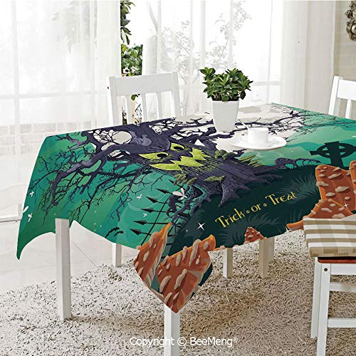 BeeMeng Large dustproof Waterproof Tablecloth,Family Table Decoration,Halloween Decorations,Trick or Treat Dead Forest with Spooky Tree Graves Big Kids Cartoon Art,Multi,70 x 104 -