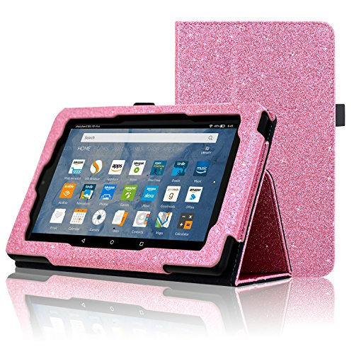 Tablet Folio 7 (ACdream All-New Fire 7 Tablet (7th Generation, 2017 Release Only) Case, Premium PU Folio Leather Tablet Case for Fire 7 tablet with Auto Wake Sleep Feature, (Star of Paris, Pink))