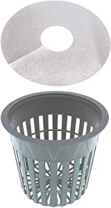 3 Inch Net Pot Pack of 32, Preimum Wide Lip Design Mesh Cup 3 in with Free Reflective Net Cup Lids to use in Hydroponic Aeroponc and Aquaponic Systems (32 Set)