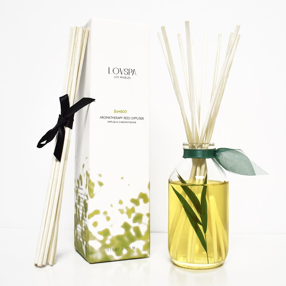 LOVSPA Bamboo Citrus Essential Oil Reed Diffuser Set Zesty White Lime & Crisp Bamboo | Tart Citrus Scent for The Kitchen or Bathroom | Makes a Great Gift for New Homeowners by LOVSPA (Image #3)