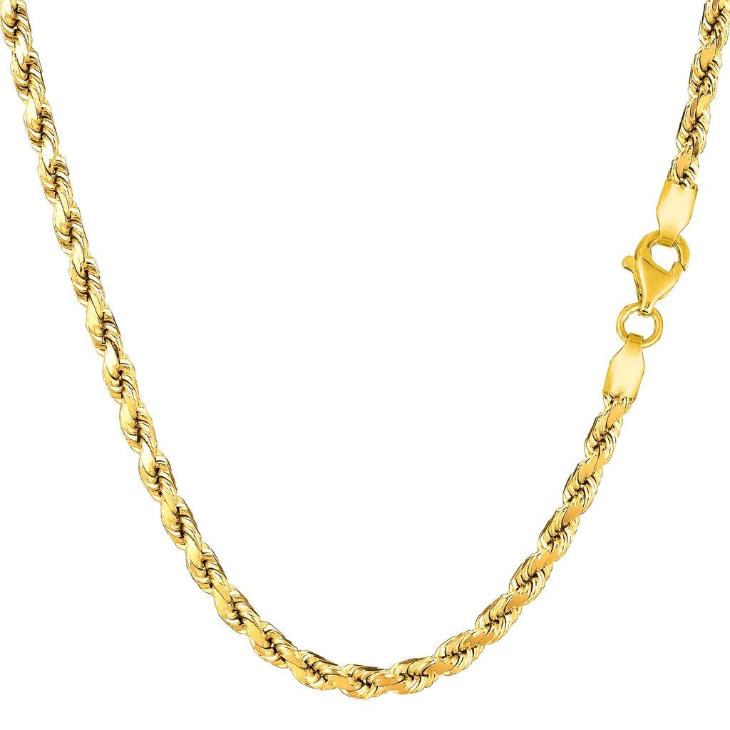 14K Yellow Gold 3.5mm Shiny Diamond-Cut Royal Rope Chain Necklace for Pendants and Charms with Lobster-Claw Clasp (18'', 20'', 22'', 24'' or 30 inch)