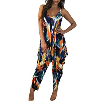 6e410d832ea Amazon.com  Bravetoshop Women Digital Print Jumpsuit Scoop Neck Long Wide  Leg Romper Summer  Clothing