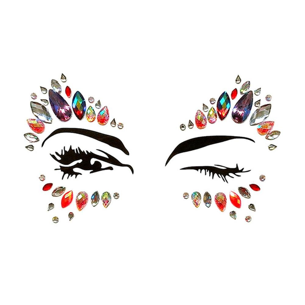 6 pegatinas Umiwe, tatuajes faciales temporales, gemas, piedras de ...
