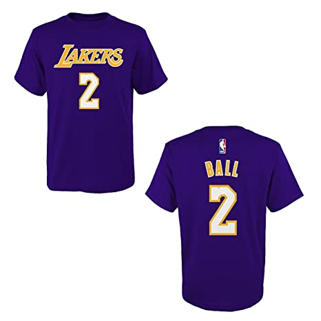 7e7688bfc7b adidas Lonzo Ball Los Angeles Lakers Purple Name and Number T-Shirt Small