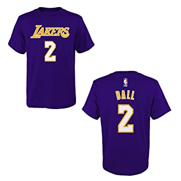 adidas Lonzo Ball Los Angeles Lakers Purple Name and Number T-Shirt Small 17038be54