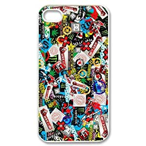 Diy Phone Cover-Custom Hot Colorful Stickerbomb Printed Hard Plastic Protective Case Cover for iPhone 4 4G 4S MG-03 (1)