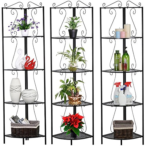 Yaheetech 4 Tier Black Metal Wall Corner Shelf Wrought Iron Bookshelf/Bookcase Display Rack Home Office Living Room (Wall Planter Stand)