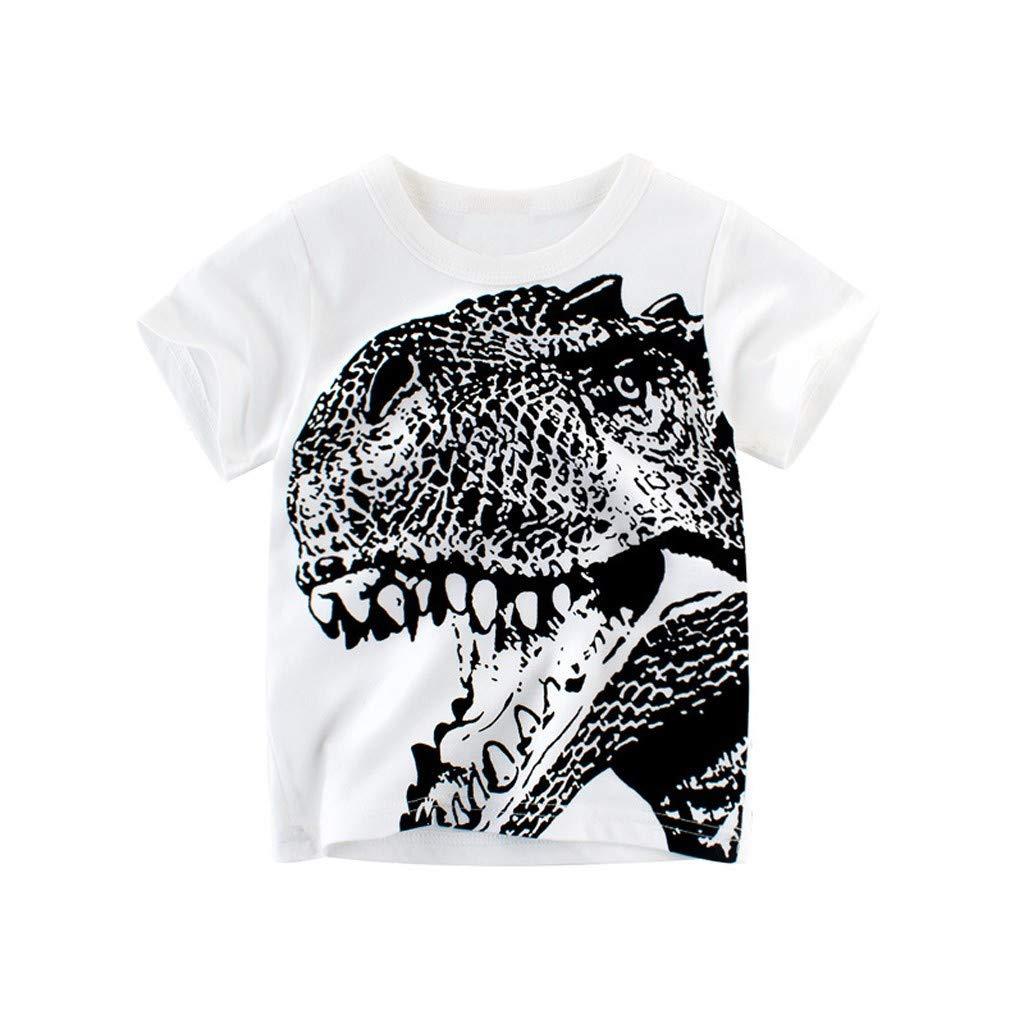 wuayi  Jungen T-Shirt Baby Jungen Kurzarm Dinosaurier Print T-Shirt Shirt Tops Hemd 1-10 Jahre