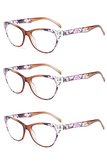 fa59ae4b6b2 Image Unavailable. Image not available for. Color  Inlefen 3 Pack Vintage Cat  Eye Reading Glasses ...