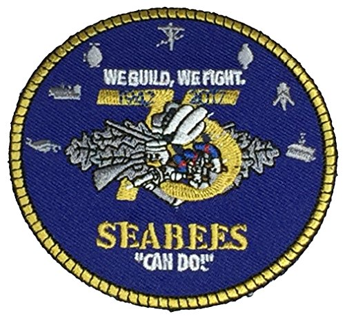 QTY LIMITED.......U.S. NAVY SEABEES 75TH ANIVERSARY ROUND PATCH - Color - Veteran Owned Business.