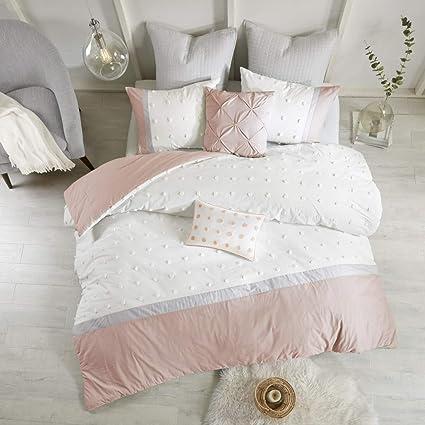 Amazon Com 7 Piece Girls Light Pink Grey White Tufts Dot