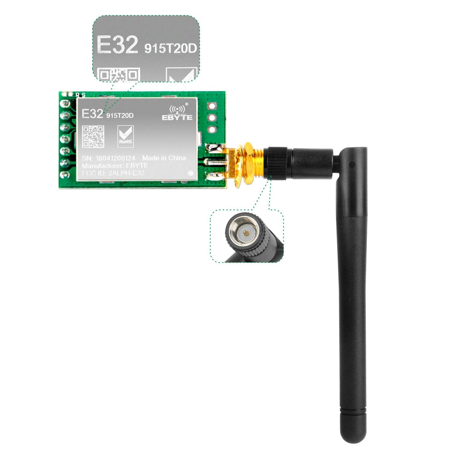 Gowoops SX1276 LoRa Radio Wireless 915Mhz UART Serial Module LoRaWAN Transmitter Receiver + 915Mhz 3dBi SMA Antenna, Compatible with Arduino STM32 51 Single Chip Microcomputer