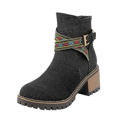 YE Damen Denim Ankle Boots High Heels Jeans Stiefeletten Blockabsatz Reißverschluss  Stiefel Winter Schuhe  Amazon.de  Schuhe   Handtaschen 0472336962