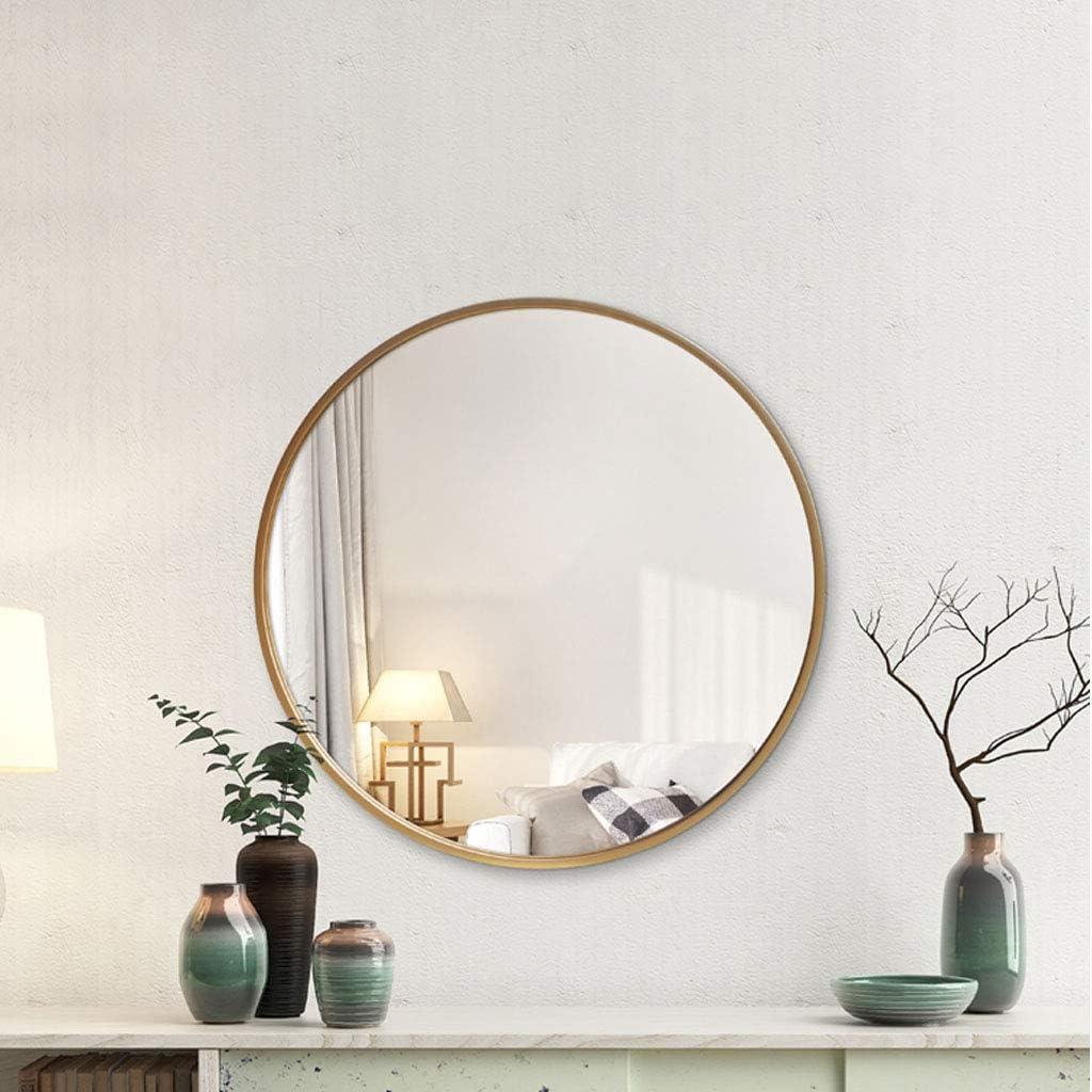 Espejo de vanidad con Borde Blanco Espejo Redondo para ba/ño Marco de Hierro Forjado Espejo para Colgar en la Pared con cord/ón
