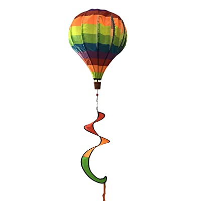 "Briarwood Lane Rainbow Deluxe Hot Air Balloon Wind Twister Everyday 54"" L: Garden & Outdoor"