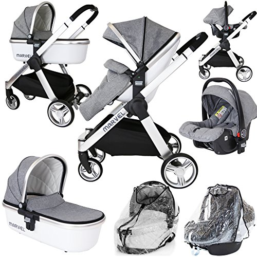 Marvel 3in1 Pram - Dove Grey (+Car Seat + Carrycot + x2 Rain Covers)