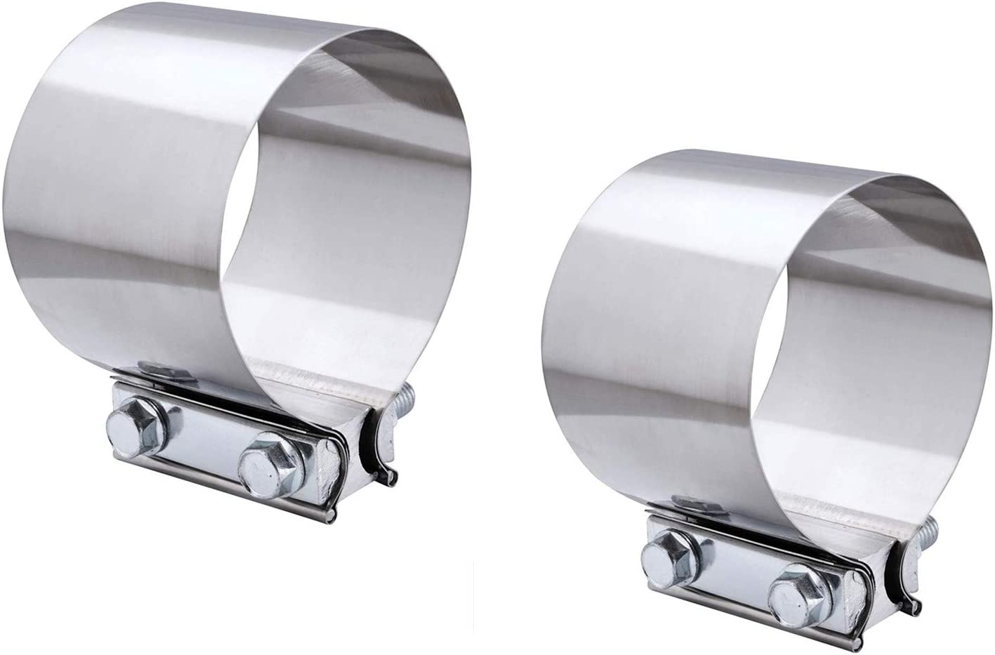 2PCS Exhaust Clamps 2.5 Inch Butt Joint Exhaust Pipe Muffler Clamp Band Stainless Steel Car Auto Exhaust Pipe Connection for Cars