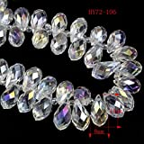 HYBEADS 100pcs 6x12mm Wholesale Drilled Drop Crystal Ab Beads Gemstone Loose Beads