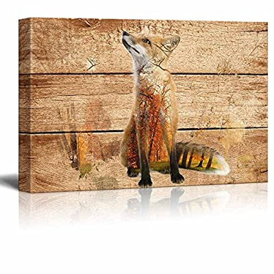 Unbelievable Handicraft, Double Exposure Rustic Fox in The Wild on Vintage Wood Background Wall Decor, That You Will Love