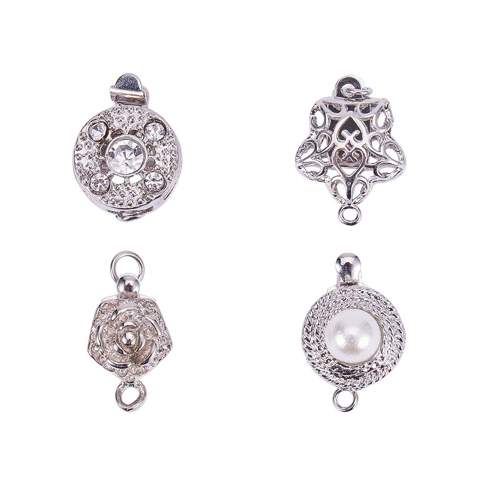 PandaHall Elite 4 Pcs Brass Box Clasps Cord Ends with Rhinestone Pearl Beads 4 Styles for Jewelry Making Platinum