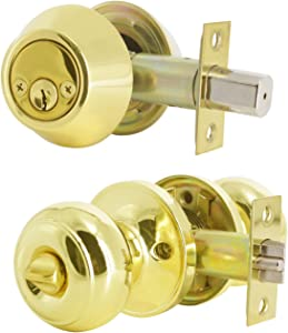 (1 Pack) Keyed Alike Entry Door Knob with Double Cylinder Deadbolt Lock Combo Set for Entrance and Front Door Lock with Polished Brass Finish,Combo Pack Door Lock with Key