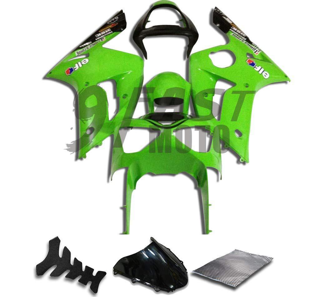 9FastMoto kawasaki カワサキ 2003 2004 ZX6R ZX-6R Ninja 636 03 04 ZX6R Ninja 636 用フェアリング オートバイフェアリングキット ABS 射出成形セット スポーツバイク カウル パネル (グリーン & ブラック) K0126   B07RVJZ52W