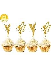 JeVenis - 32 adornos para magdalenas con purpurina dorada para decoración de tartas de ángel para