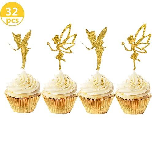 JeVenis - 32 adornos para magdalenas con purpurina dorada para decoración de tartas de ángel para fiesta de cumpleaños, despedida de soltera, baby ...