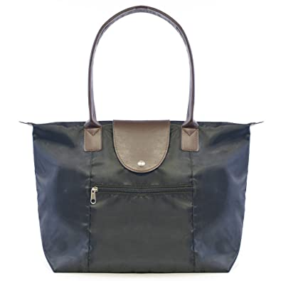 971842731 Foldable Leather-Canvas Style Tote Shopper With Zip Top Closure Black