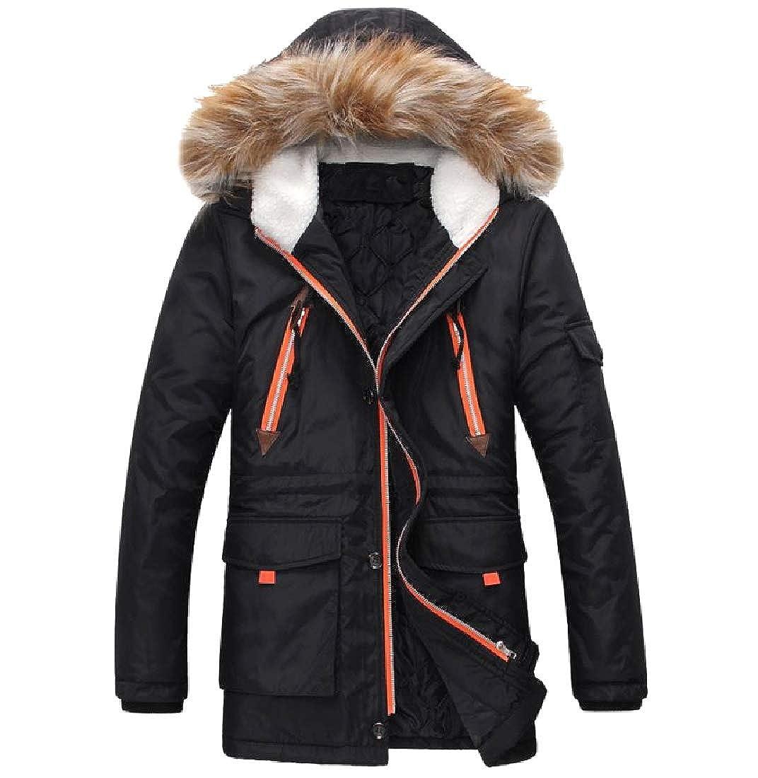 Abetteric Mens Warm Thickened Fur Collar Mid Long Hood Brumal Coat Jacket