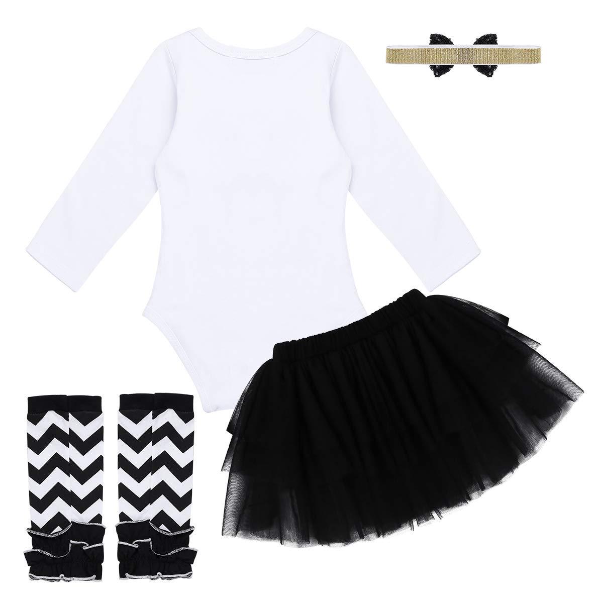 FEESHOW Baby Girls My 1st Halloween Outfit Costumes Romper Bodysuit Tutu Skirt Headband Set Black 5 pcs Set 0-3 Months by FEESHOW (Image #2)