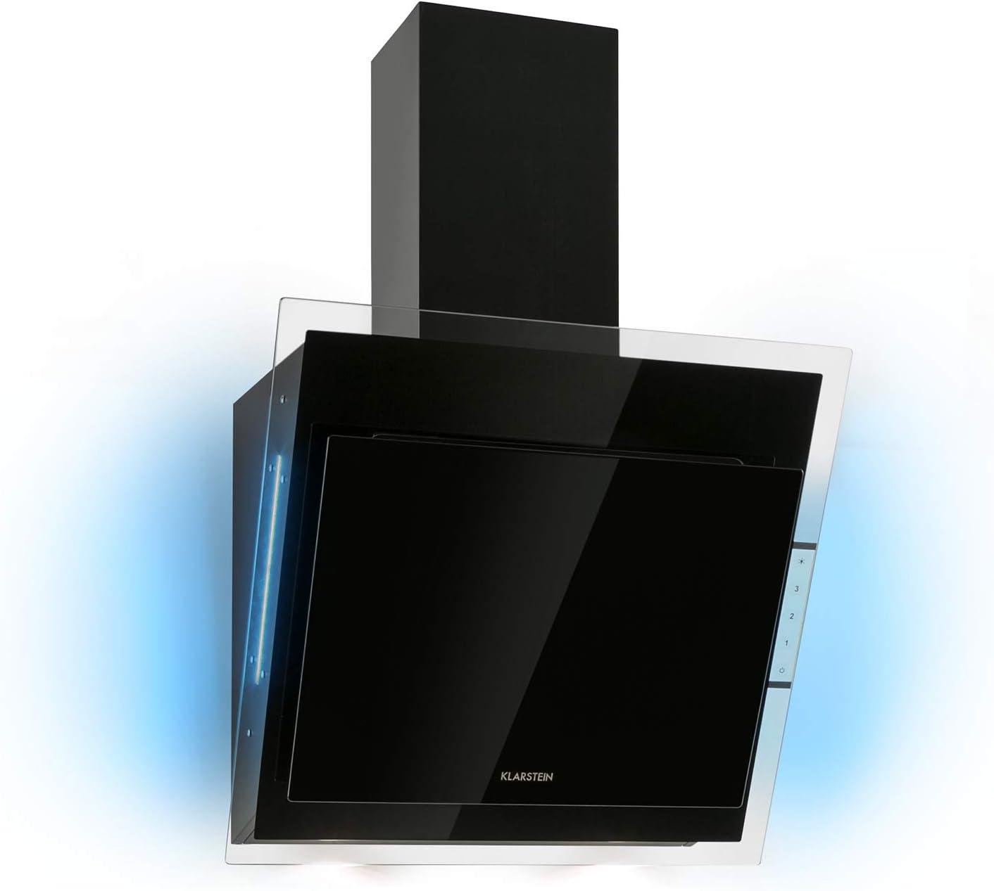 Klarstein Mirage 60 Black Edition - Extractor de humos - 60cm, Extracción de 550m³/h, Clase A, Control táctil, Luces LED RGB, Acústica 59/63 dB, Extracción y ventilación, Extractor de pared, Negro