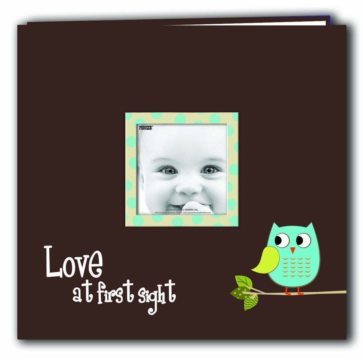 Pioneer Photo Albums Pioneer Postbound Blue Baby Owl Printed Frame Cover Memory Book with Bonus Refill Pack (12x12)