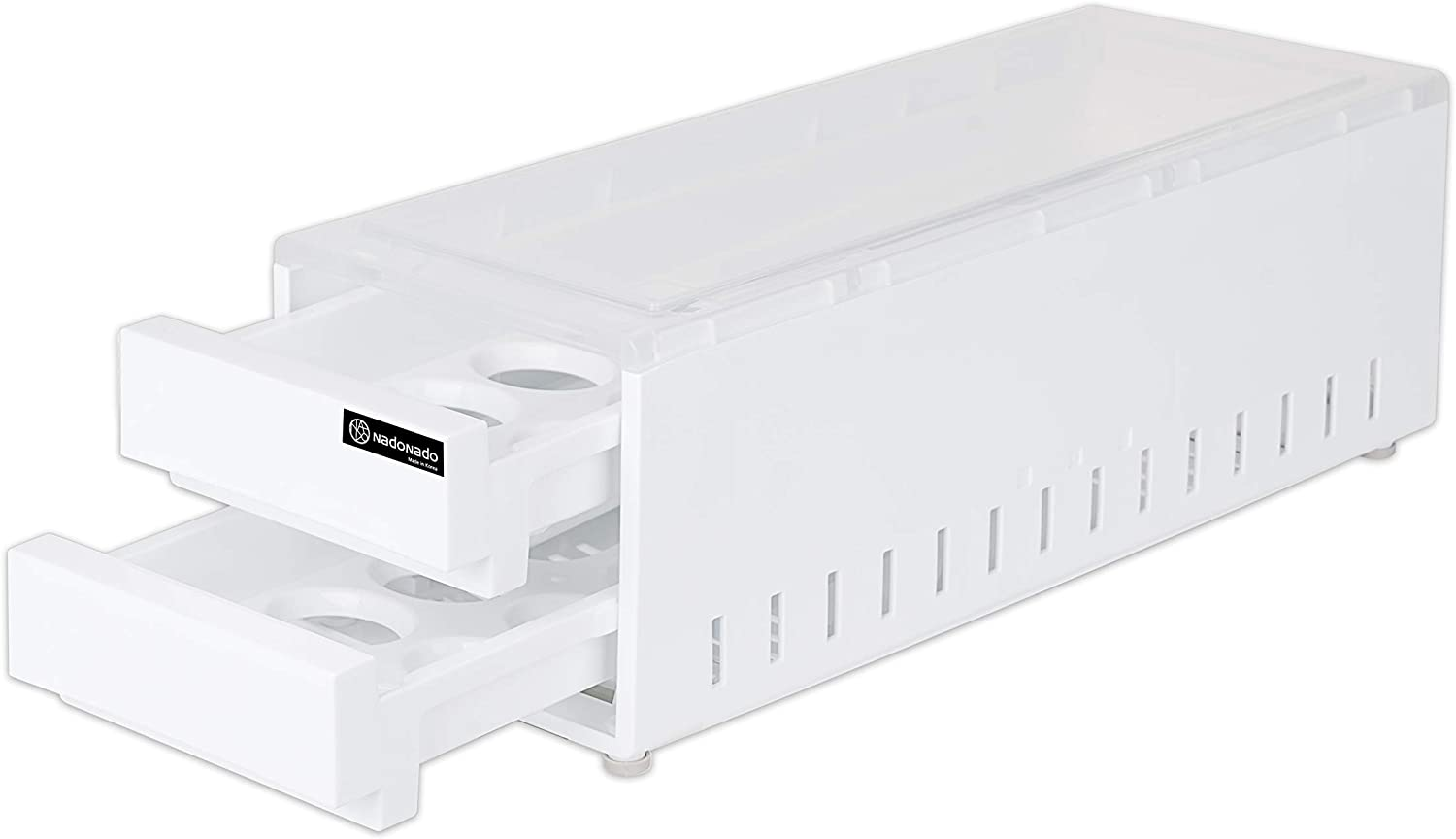 NadoNado ND-EG32, Egg Holder for Large Refrigerator, 2-Story Drawer Type Egg Storage Organizer, Container for 32 Eggs, BPA-Free Plastic, White and Translucent, 6.5W x 16.3L x 5.6H inches of Egg Tray