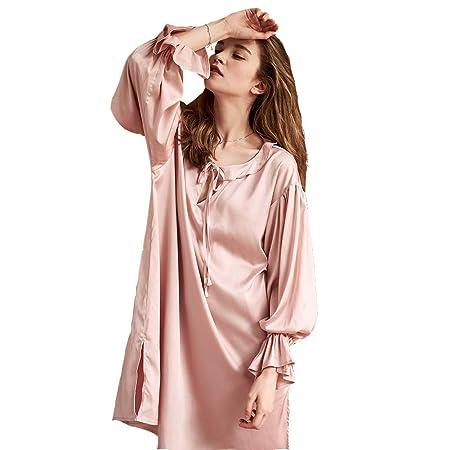 WX-ICZY Satén del camisón de Las Mujeres, Vestido de la Hoja de ...