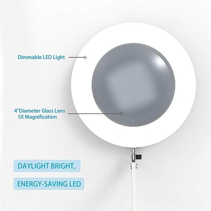 YOUKOYI Lámpara LED de Aumento de 5X Lámpara de Escritorio de Metal con Brazo Oscilante Regulación Escalonada de 3 Modos de Color: Amazon.es: Iluminación