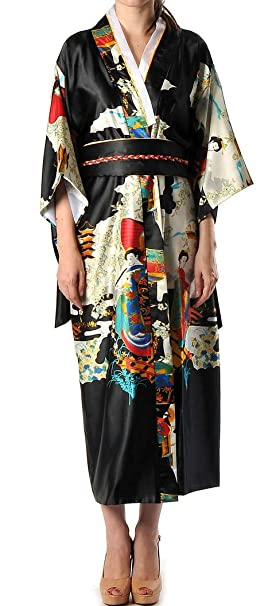 Shanghai Tone® Japan Geisha Kimono Robe Night Gown Black One Size ...